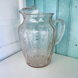 Pink Depression Glass Style Floral Pitcher - Gorgeous!